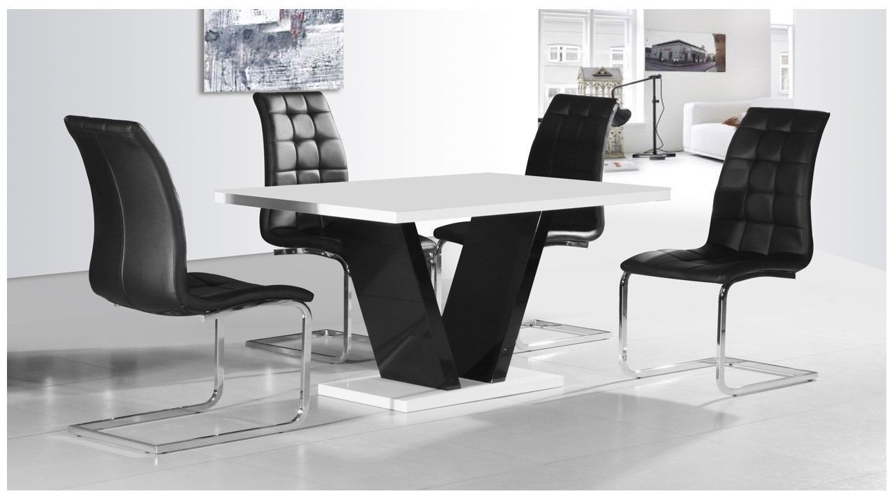 White Table And Chairs Set: White & Black High Gloss Dining Table & 4 Chairs Set