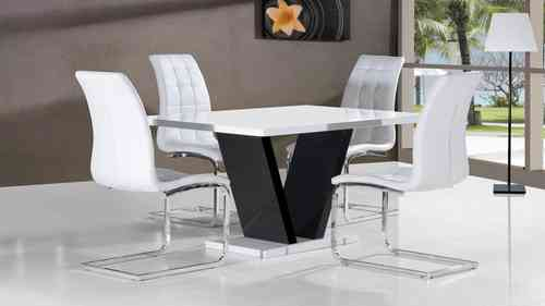 White high gloss dining table and 4 chairs with black base
