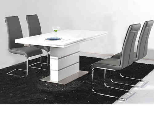 White High Gloss Dining Table and 4 Black Chairs Set