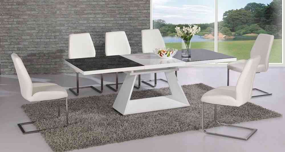 Dining Table With 8 Chairs Uk Extending Black Glass White High