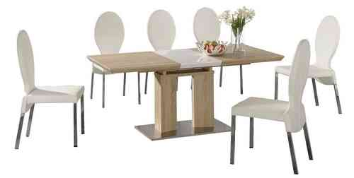 Extending dining table and 6 white chairs wood finish with high gloss