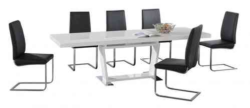 White high gloss extending dining table and 8 chairs set