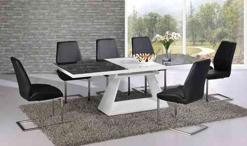 White High Gloss Extending Dining Table with 8 chairs set with Black Glass top