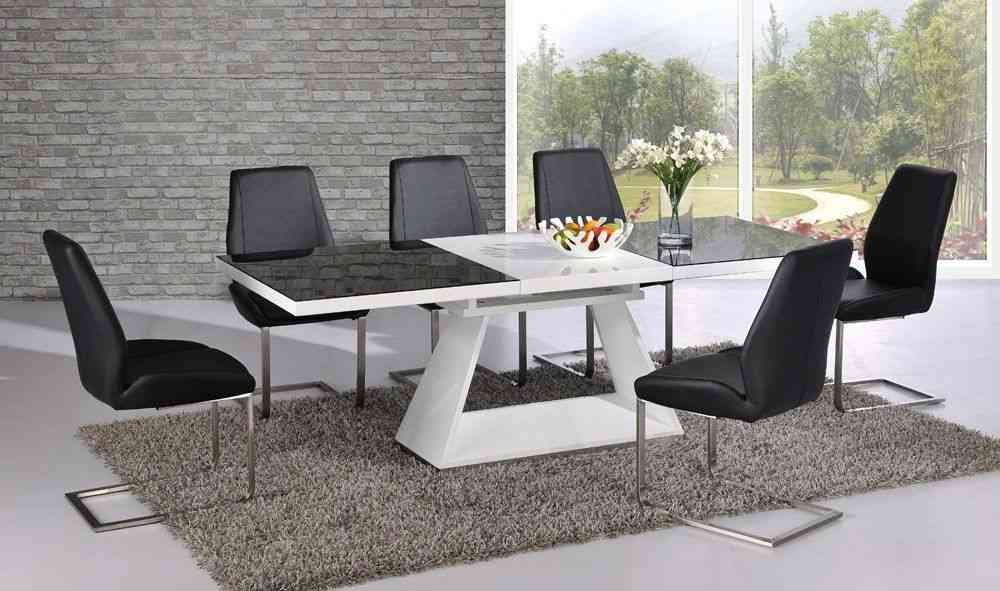 White High Gloss Extending Dining Table With 8 Chairs Set Black Glass Top