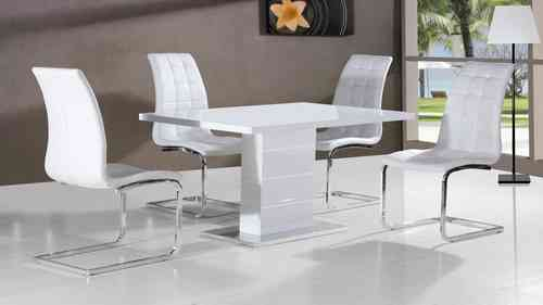 Full white high gloss dining table and 4 chairs