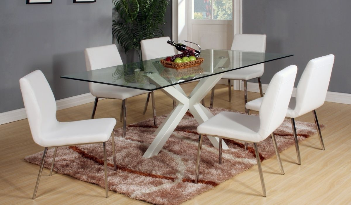 High Gloss White Finish Dining Table And 6 Chairs Homegenies