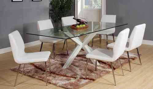 High Gloss White finish Dining Table and 6 Chairs Set