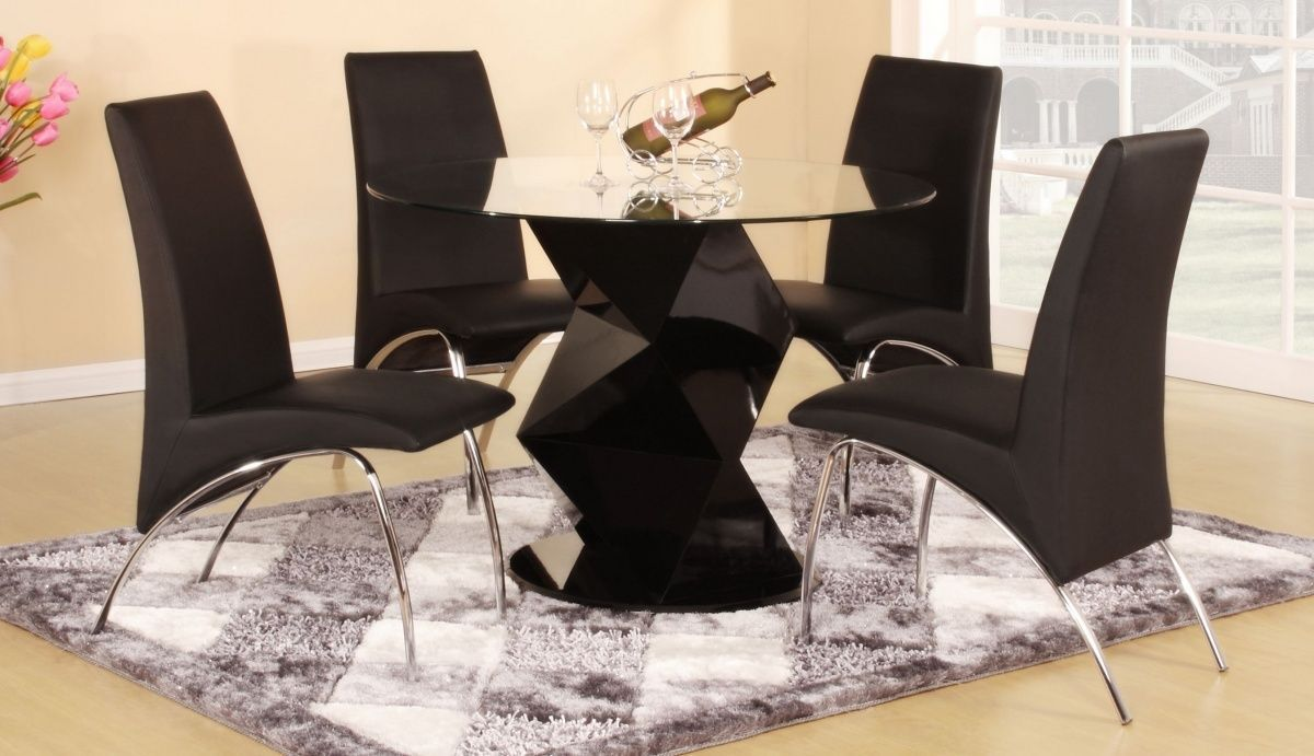 Modern Round Black High Gloss Clear Glass Dining Table 4 Chairs