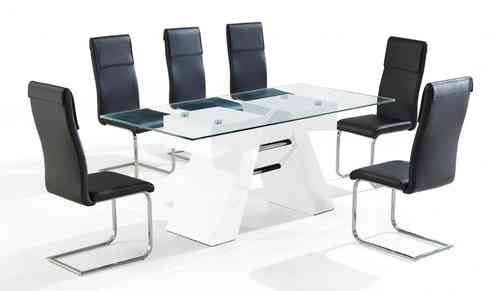 White high gloss clear glass dining table & 6 chairs set