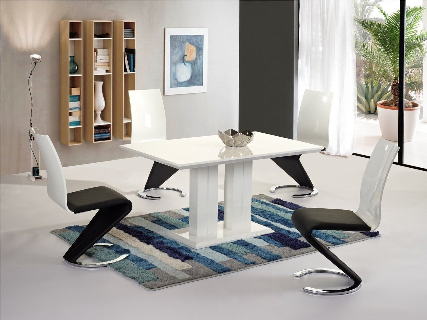 Modern white high gloss dining table and 4 chairs set for Modern high dining table