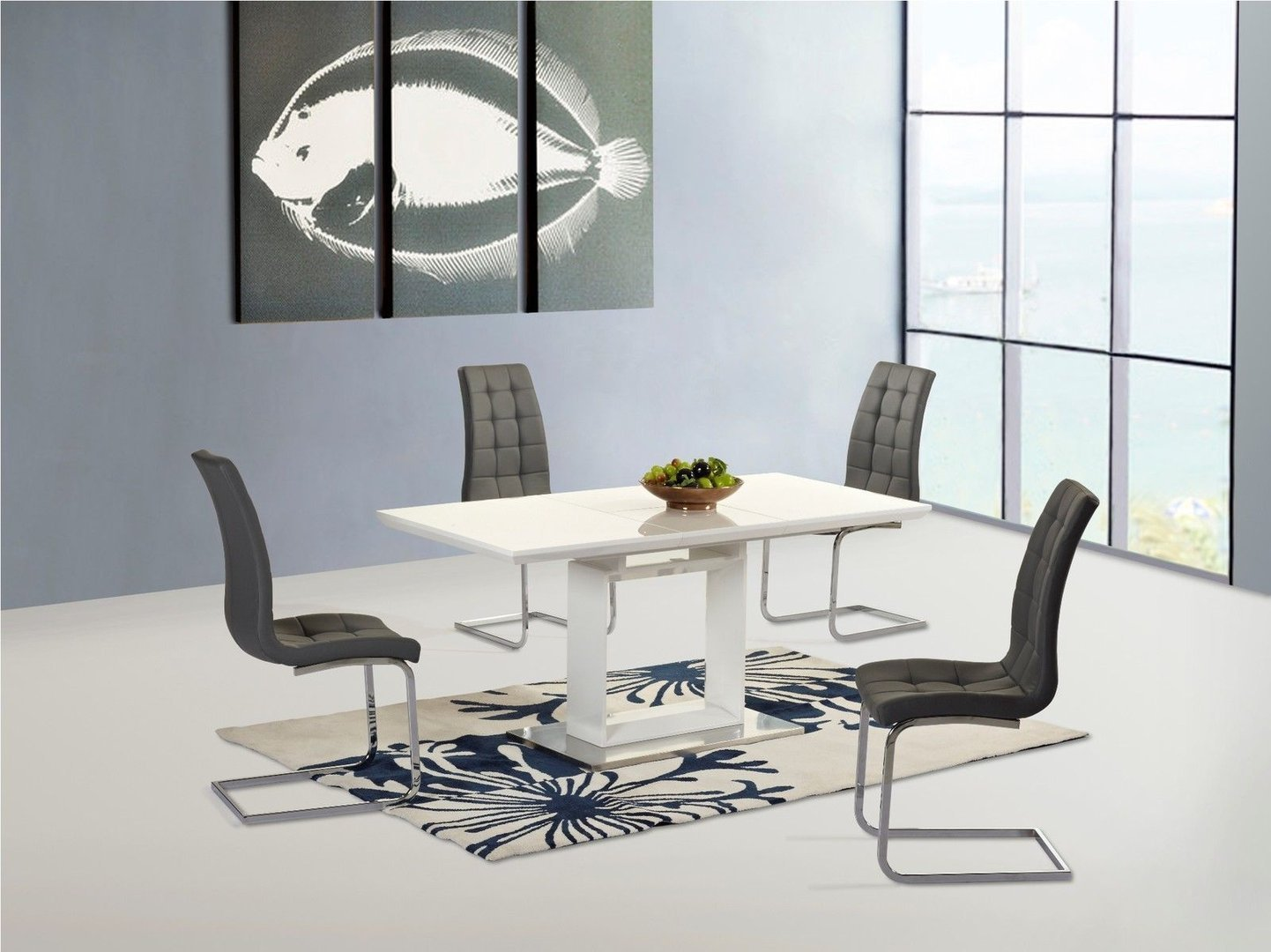 New White High Gloss Extending Dining Table And 4 Grey Chairs Set