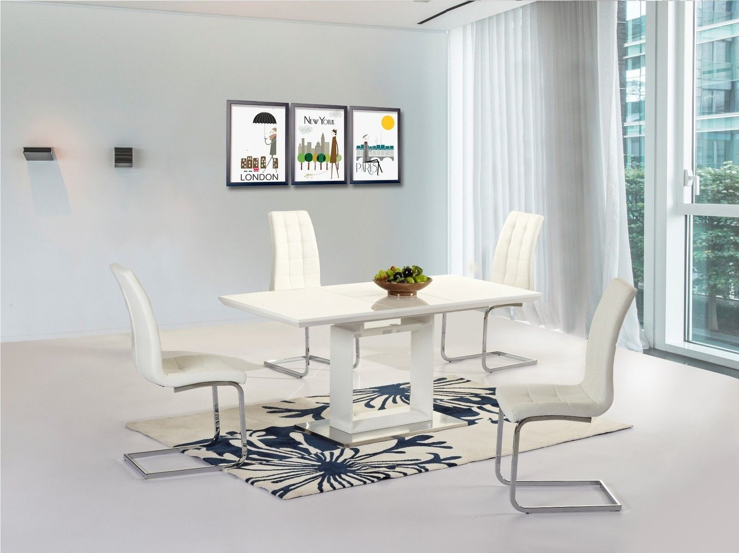 New white high gloss extending dining room table 4 white chairs - High dining room table ...