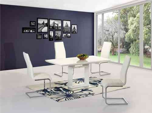 White high gloss extending dining table and 6 chairs set