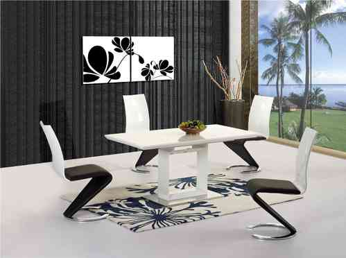 White Extending High Gloss Dining Table and 6 Chairs set