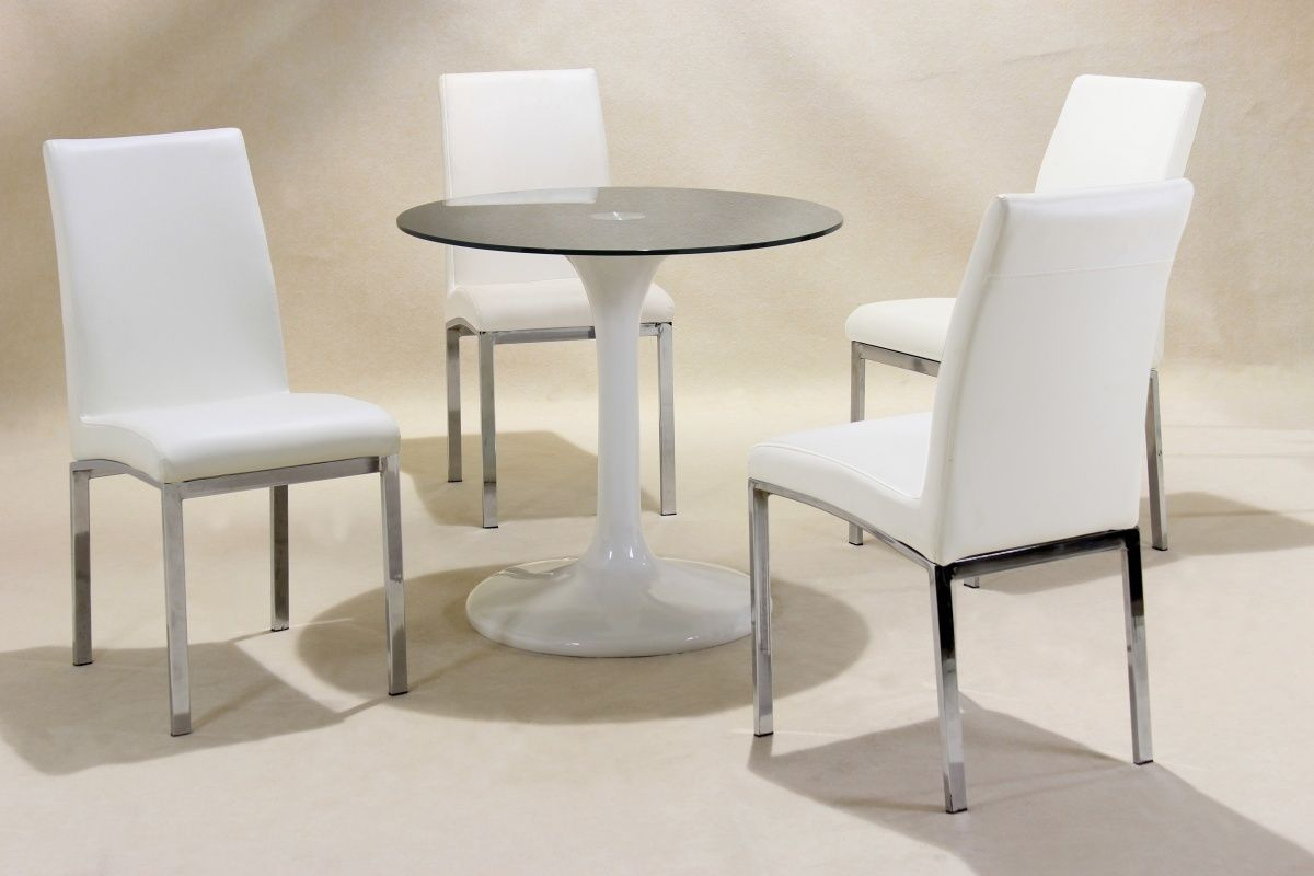 Small round white high gloss glass dining table and 4 chairs for Dinner table set for 4