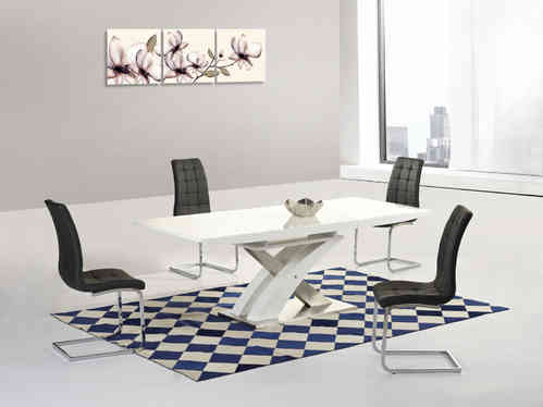 White gloss / glass extending dining table & 6 chairs