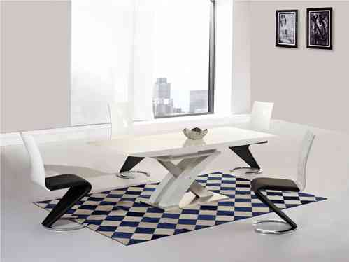 White high gloss and glass extending dining table and 6 chairs set
