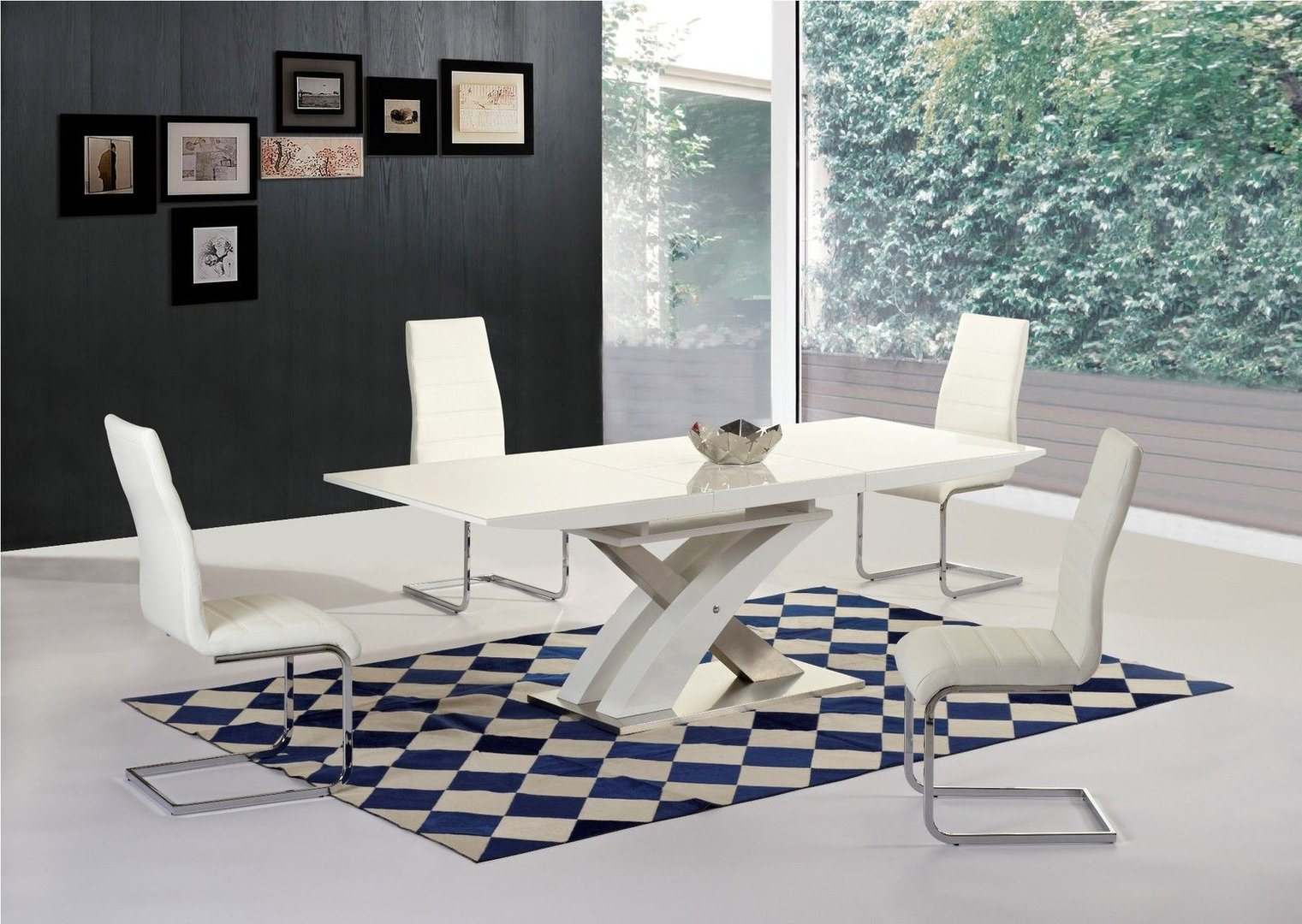 White high gloss glass extending dining table 6 chairs for Stylish dining table set