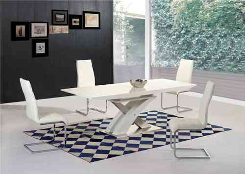 White high gloss / glass extending dining table and 6 chairs