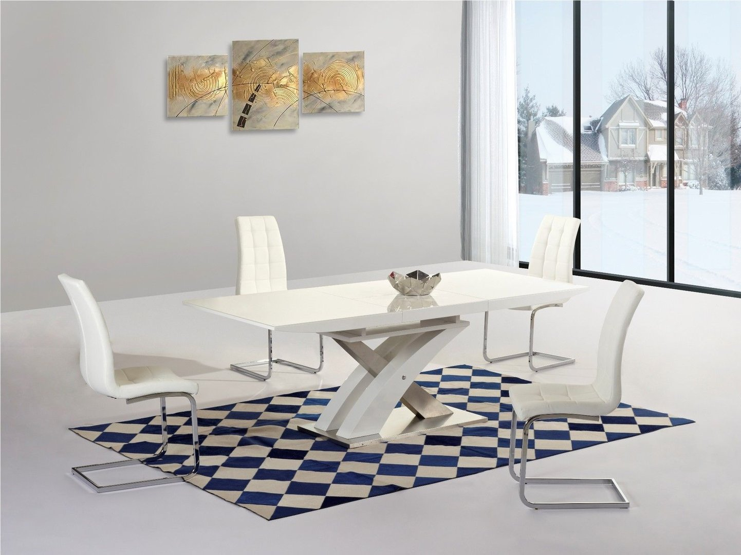 White extending gloss dining table and 6 chairs homegenies for Modern table and chairs