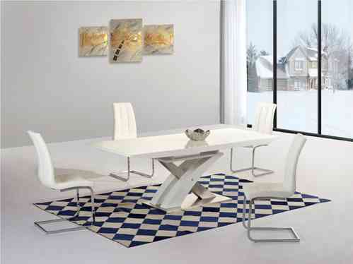 White Extending gloss dining table and 6 chairs