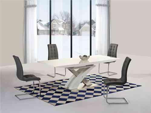 White high gloss and glass extending dining table and 8 grey chairs set