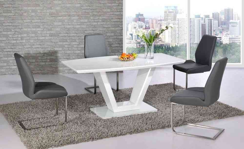 99a2984ec130 White high gloss dining table and 4 grey chairs - Homegenies