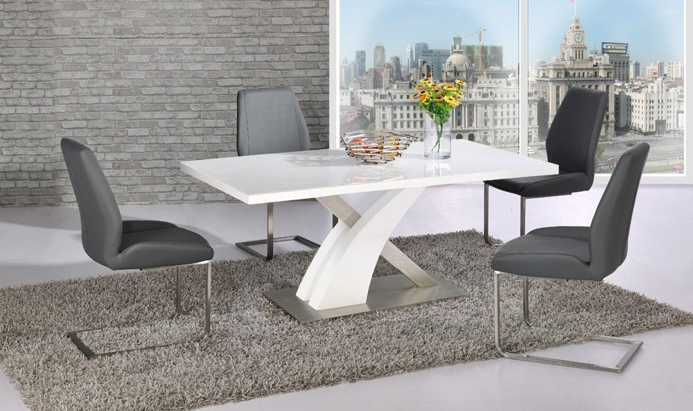 White glass gloss dining table and 4 grey chairs set for White dining table set
