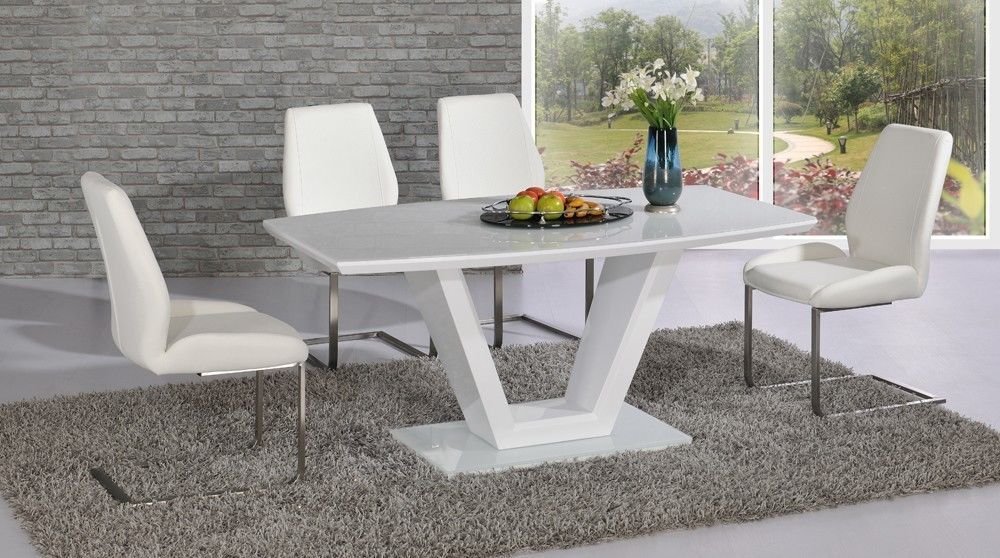Modern white high gloss glass dining table and 6 chairs for White dining room table and chairs