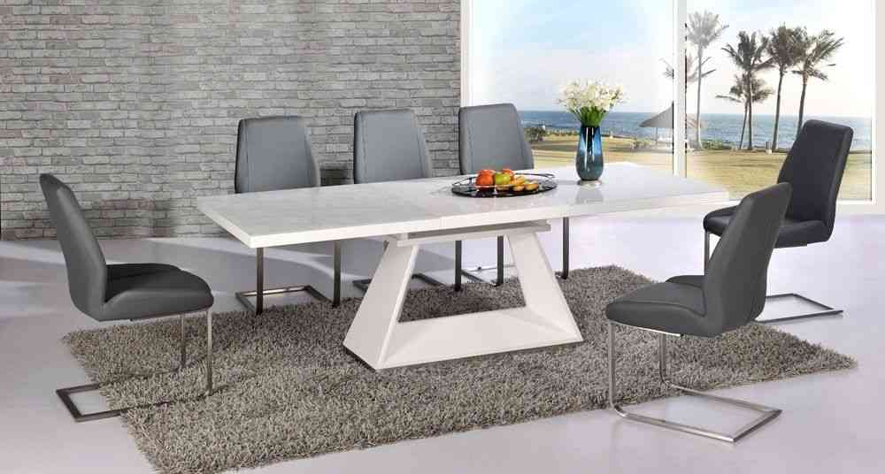 Modern White High Gloss Extending Dining Table And 6 Grey Chairs