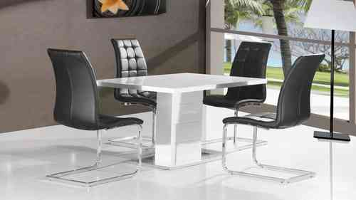 Pure white high gloss dining table and 4 black chairs set