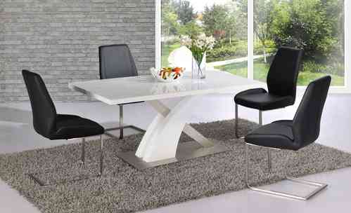 White high gloss dining table set and 6 black chairs with brushed steel base