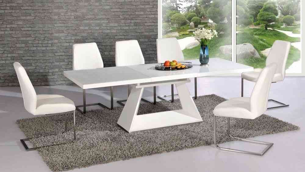 White High Gloss Glass Dining Table And 8 Chairs Extending Set