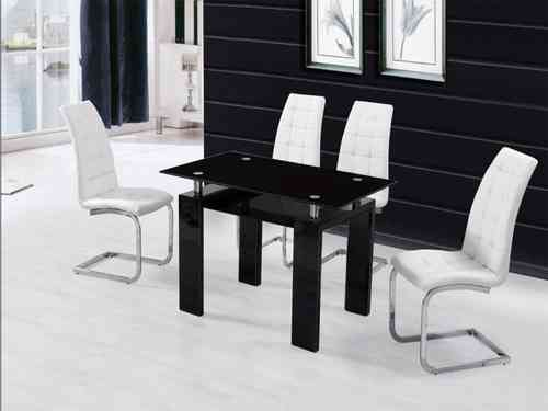 Black Glass High Gloss Dining Table and 4 Chairs