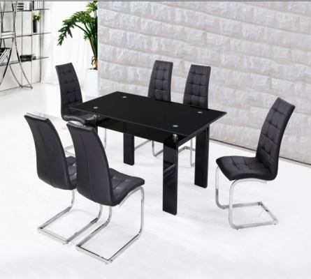 Black High Gloss Dining Set With 6 Black Chairs