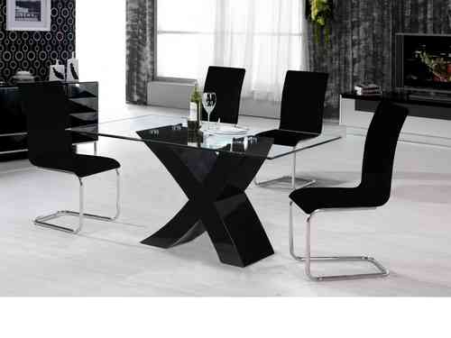 Black high gloss dining table and 4 chairs / glass top