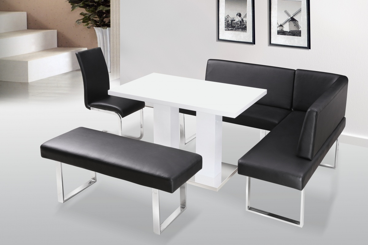 White high gloss dining table chairs with bench set for Dinette sets with bench seating