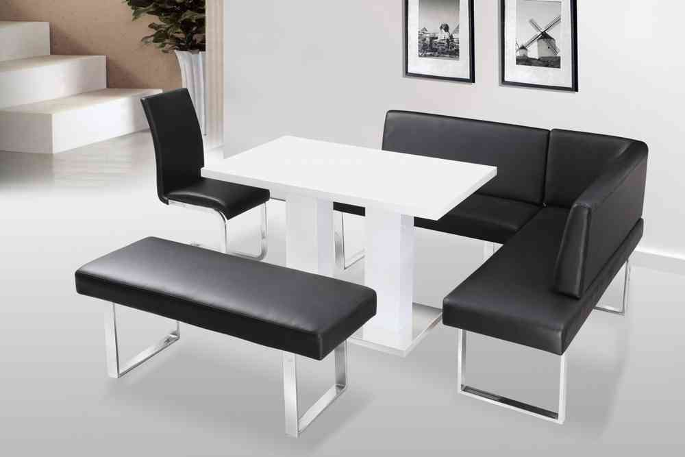 White High Gloss Dining Table And Chairs With Bench Set