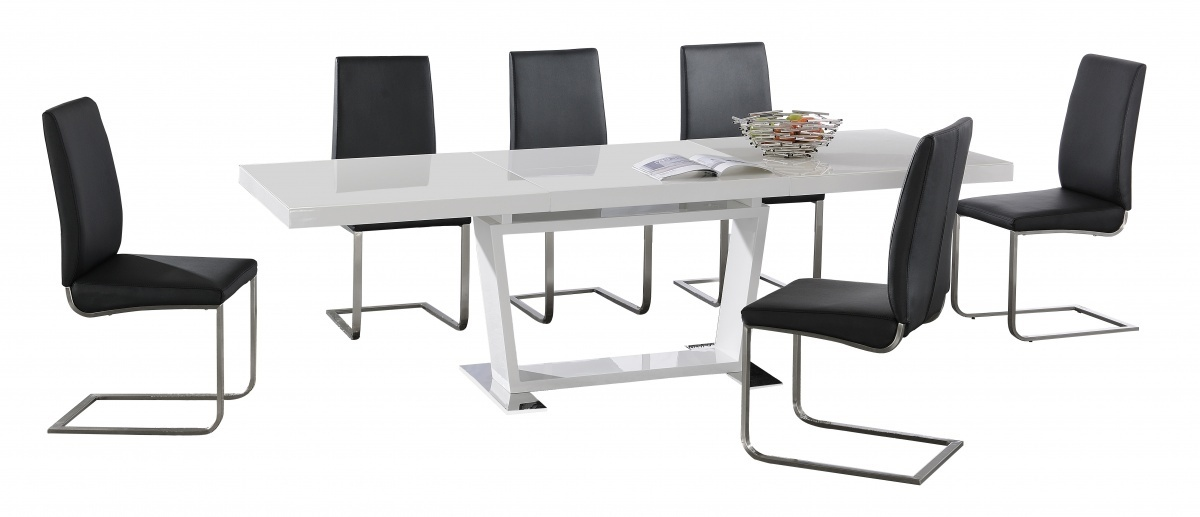 Large White High Gloss Extending Dining Table With 8 Black Chairs