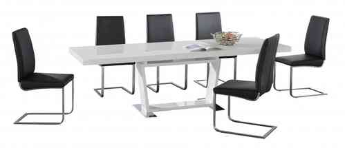 Large White High Gloss Extending Dining Table with 8 Black Chairs Set