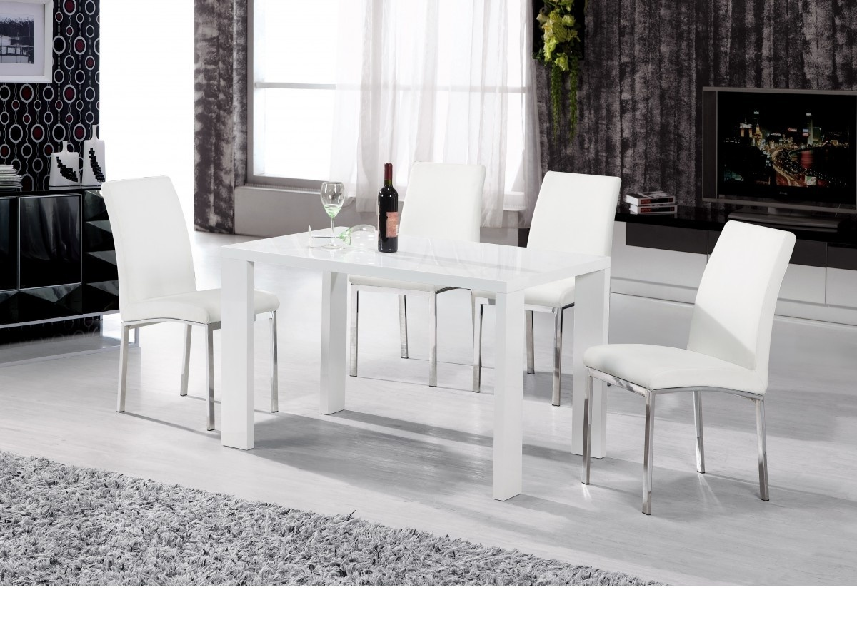 White Full High Gloss Dining Set With 4 Chairs Homegenies