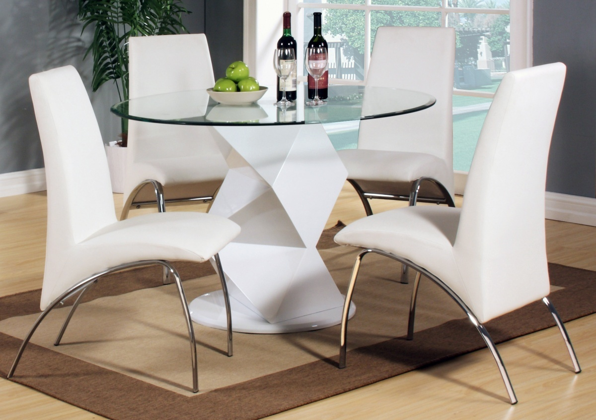 Modern round white high gloss clear glass dining table 4 for Stylish dining table set