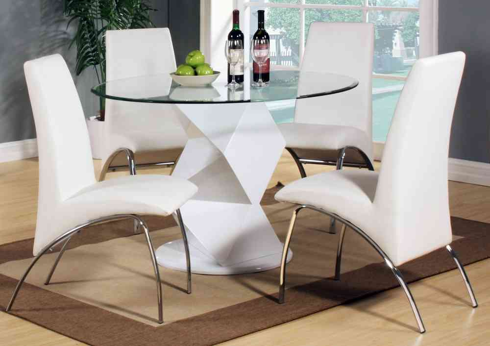 Modern Round White High Gloss Clear Glass Dining Table And 4 Chairs Set