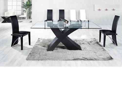 Ash black large clear glass dining table and 6 chairs set