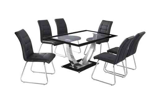 Black Boarder Clear Glass Dining Table and 6 Chairs set