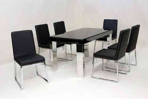 Black glass & chrome dining table and 6 chairs set