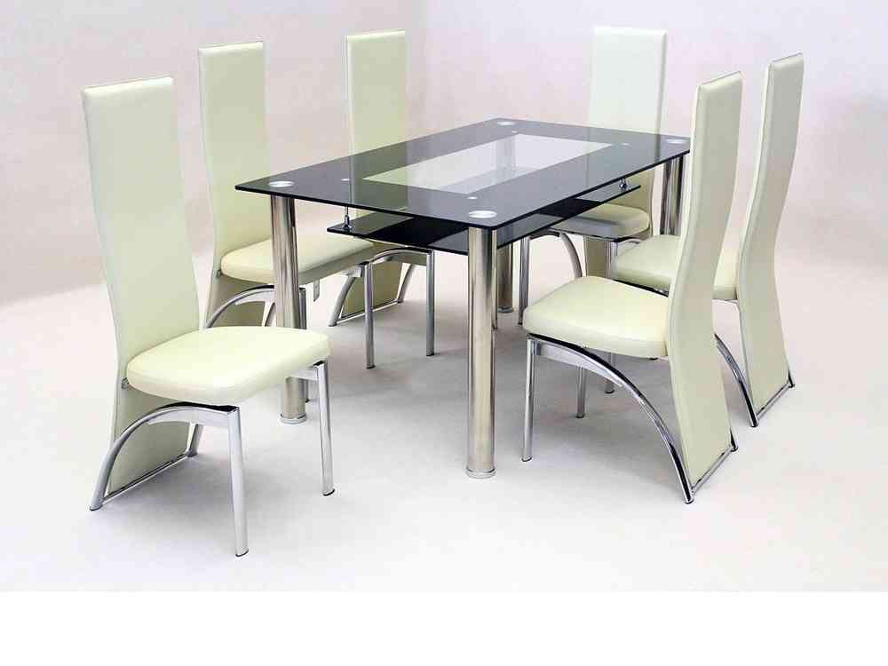 Black Glass Dining Table And 6 Faux Chairs In Cream Homegenies