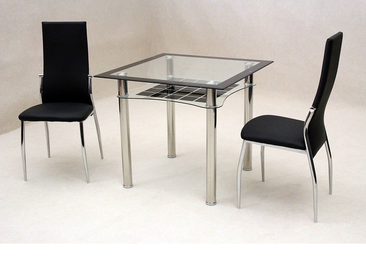 Small square glass dining table and 2 chairs homegenies for Glass dining table