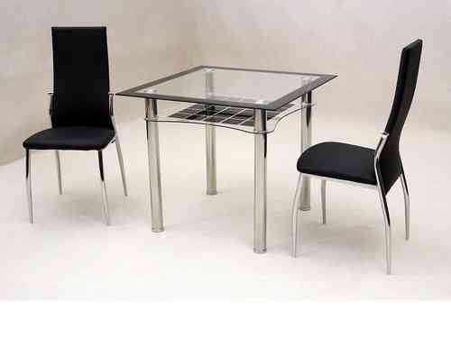 Small square clear / black glass dining table and 2 chairs set