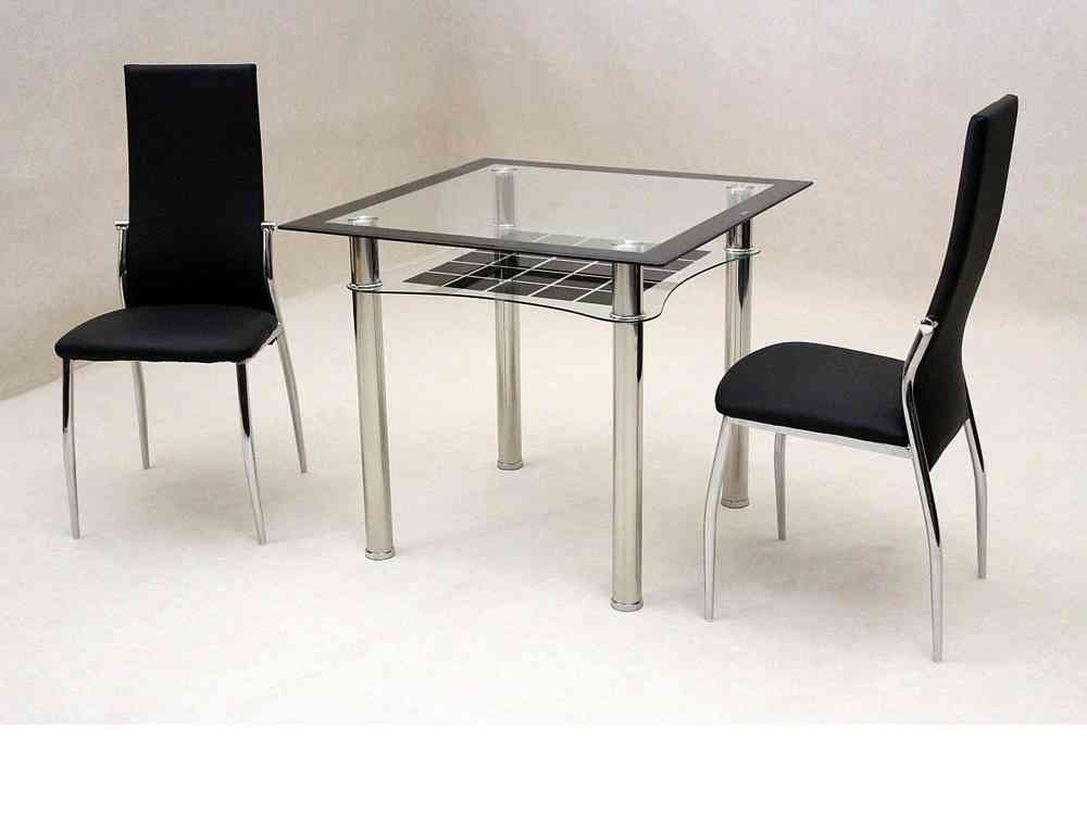 small glass dining table. Small Square Clear / Black Glass Dining Table And 2 Chairs Set